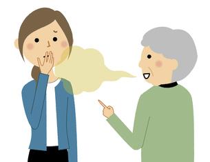 口臭がキツいシニア女性 会話のイラスト素材 [FYI04953110]