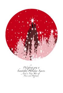 クリスマスカード,雪降る森にクリスマスツリーと光る星のイラスト素材 [FYI04954005]