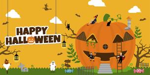 ハロウィン・ハロウィーン 南瓜の家と仮装した子供たち 横長バナー ベクターイラストのイラスト素材 [FYI04954357]