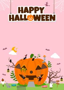 ハロウィン・ハロウィーン 南瓜の家と仮装した子供たち 縦長ポスターサイズ イラストのイラスト素材 [FYI04954363]