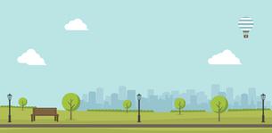 緑のある公園(人物なし)横長バナーイラスト / 夏・春のイラスト素材 [FYI04954381]