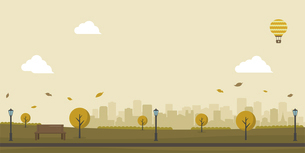 自然のある公園(人物なし)横長バナーイラスト / 秋・冬のイラスト素材 [FYI04954387]