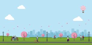桜の咲く春の公園  横長バナーイラストのイラスト素材 [FYI04954390]