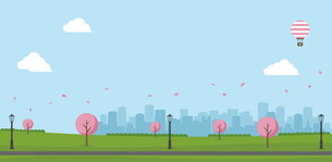 桜の咲く春の公園(人物なし)横長バナーイラストのイラスト素材 [FYI04954394]