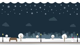 雪の積もった冬の公園 横長バナーイラストのイラスト素材 [FYI04954398]