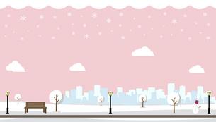 雪の積もった冬の公園 横長バナーイラストのイラスト素材 [FYI04954399]