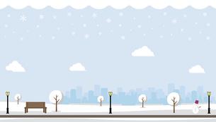 雪の積もった冬の公園 横長バナーイラストのイラスト素材 [FYI04954400]