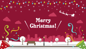 """Merry Christmas!"" クリスマス バナーベクターイラスト/ 冬の公園のイラスト素材 [FYI04954407]"