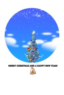 クリスマスカード ハガキテンプレート青い空とクリスマスツリー02のイラスト素材 [FYI04954595]
