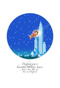 クリスマスカード,町に降りるサンタクロースとトナカイのイラスト素材 [FYI04954598]