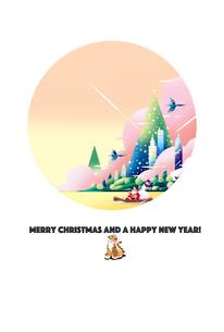 クリスマスカード,朝焼けの中,旅立ちのサンタクロース02のイラスト素材 [FYI04954600]