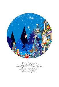 クリスマスカード,クリスマスの街にライトアップされたツリーのイラスト素材 [FYI04955174]