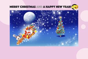 クリスマスカード,トナカイとサンタと星空のイラスト素材 [FYI04955412]