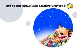 クリスマスカード,リスのクリスマスイブのプレゼント02のイラスト素材 [FYI04955413]
