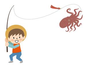タコを釣る男の子のイラストレーションのイラスト素材 [FYI04955731]
