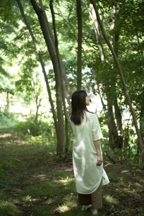 森の中の女性の写真素材 [FYI04956078]