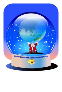 クリスマスカード,スノードームで地球を持ち上げるサンタクロースのイラスト素材 [FYI04956546]