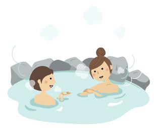 温泉に入る若い女性達のイラスト素材 [FYI04957101]