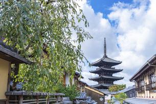 【京都】青空の下の八坂の塔 法観寺の写真素材 [FYI04957439]
