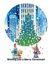 クリスマスカードテンプレート,クリスマスツリーを見る家族のイラスト素材 [FYI04958401]