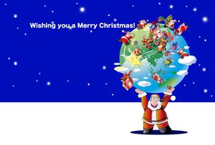クリスマスカード、地球を駆け回るサンタクロースのイラスト素材 [FYI04958402]