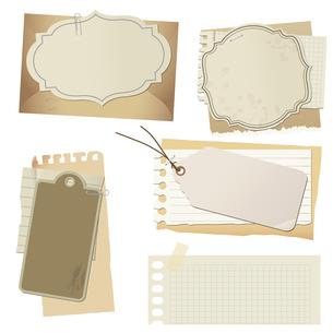 ビンテージ風 紙物の素材セットのイラスト素材 [FYI04958662]
