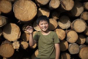 丸太の前に立つ子供の写真素材 [FYI04958896]