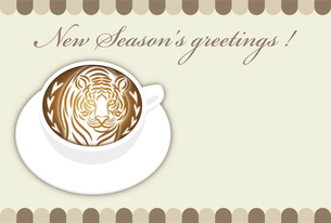 寅年 年賀状テンプレート 白いコーヒーカップにお洒落な寅のラテアート イラストのイラスト素材 [FYI04959173]
