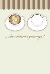 寅年 フォトフレーム 年賀状テンプレート 白いコーヒーカップにお洒落な寅のラテアート イラストのイラスト素材 [FYI04959176]
