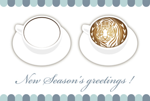 寅年 フォトフレーム 年賀状テンプレート 白いコーヒーカップにお洒落な寅のラテアート イラストのイラスト素材 [FYI04959179]