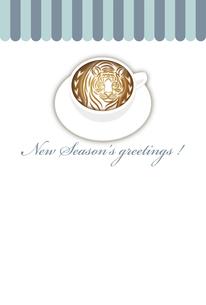 寅年 年賀状テンプレート 白いコーヒーカップにお洒落な寅のラテアート イラストのイラスト素材 [FYI04959181]