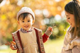 公園で遊ぶ親子の写真素材 [FYI04959364]