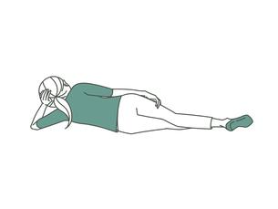 横向きに寝転がる女性-2色のイラスト素材 [FYI04960294]