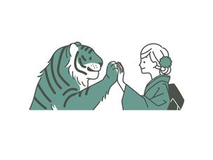 手を合わせている虎と着物姿の女性-2色のイラスト素材 [FYI04960297]