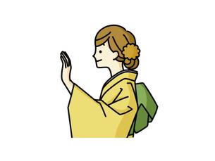 手を上げている着物姿の女性のイラスト素材 [FYI04960318]