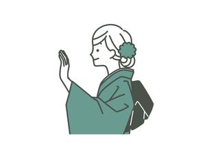 手を上げている着物姿の女性-2色のイラスト素材 [FYI04960320]