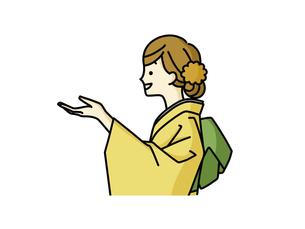 紹介や案内をしている着物姿の女性のイラスト素材 [FYI04960321]