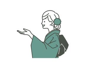 紹介や案内をしている着物姿の女性-2色のイラスト素材 [FYI04960323]