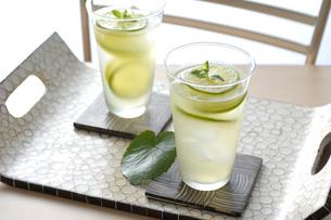 テーブルの上に置かれたグラスに入ったライムジュース2杯の写真素材 [FYI04960424]
