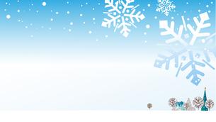 雪の結晶とクリスマスツリーのあるまちの背景のイラスト素材 [FYI04961354]