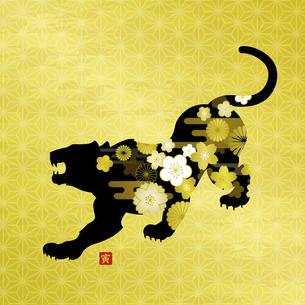 寅年の年賀状素材 金色の和風模様背景のイラスト素材 [FYI04962201]